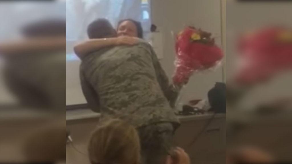 soldier surprises his old teacher