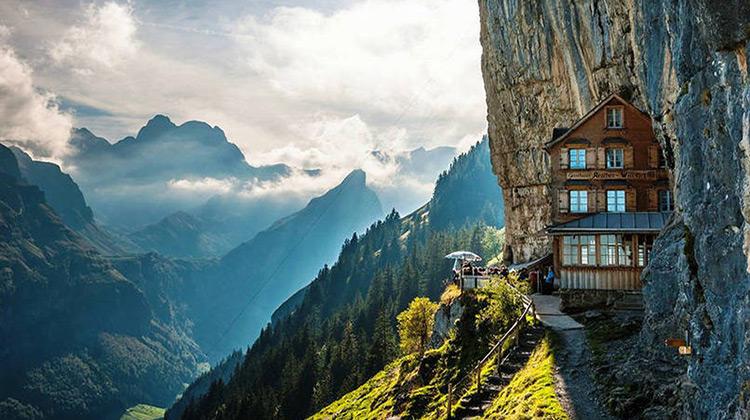 Cliffside hotel in Switzerland