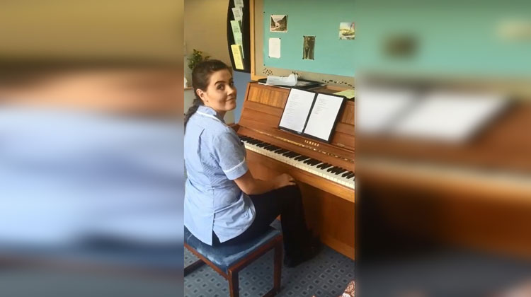 hospice nurse playing adele cover