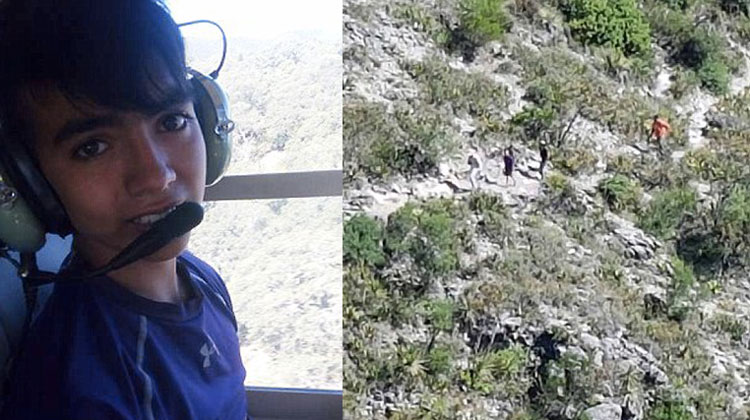 boy on left in helicopter and rocky desert ravine
