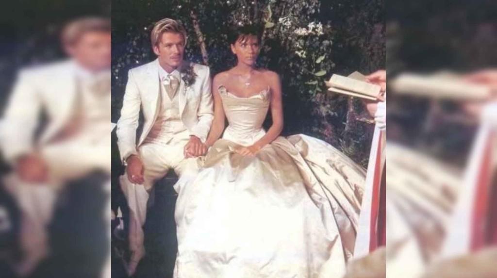 Victoria and David Beckham on wedding day