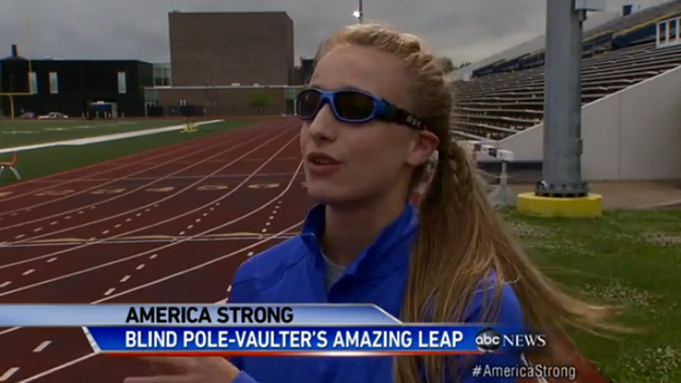 Charlotte Brown is a champion pole vaulter despite being blind