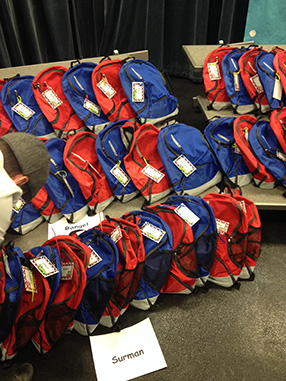 Donated and fully stocked backpacks for kids