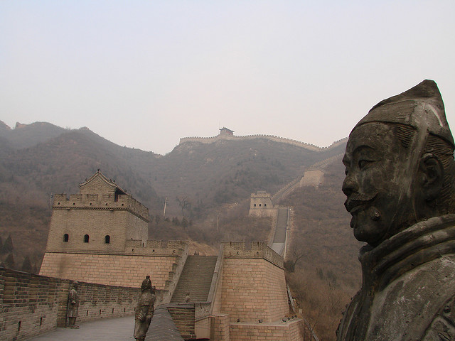 Great Wall of China With Statue