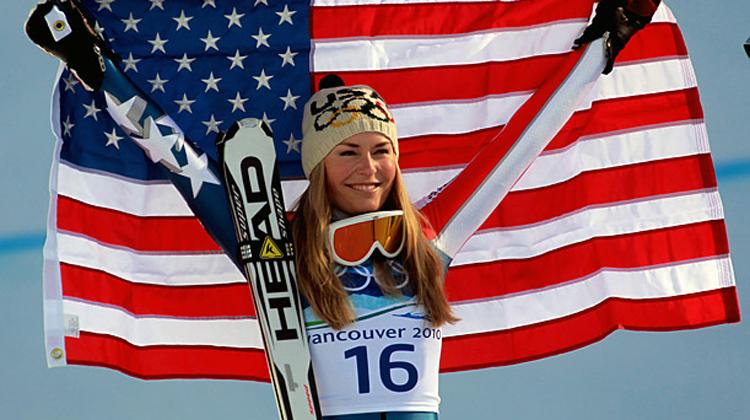Lindsey vonn with flag