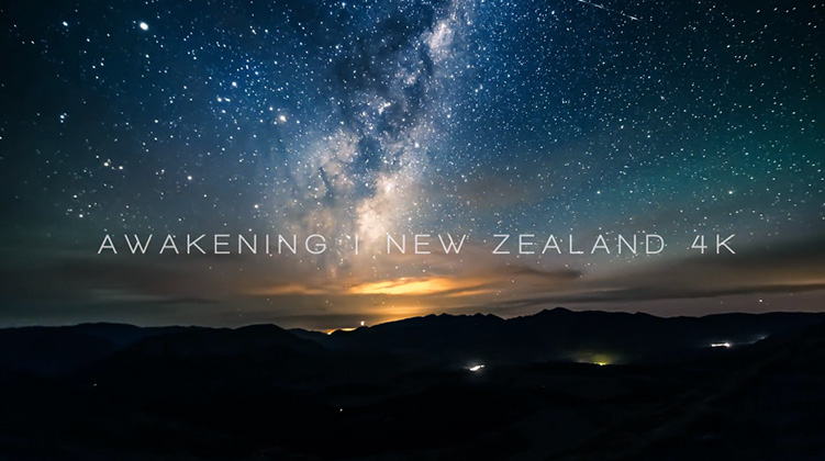 Timelapse image of stars over New Zealand mountains