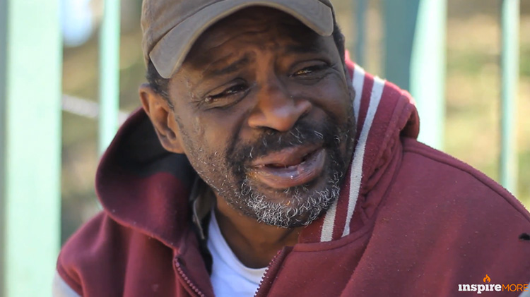 Close shot of homeless man Joseph during interview.
