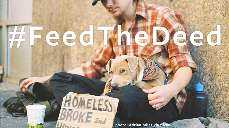 Image of homeless man and his dog.
