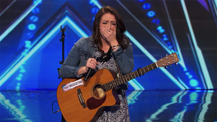 Anna Clendening emotional on stage during Got Talent audition