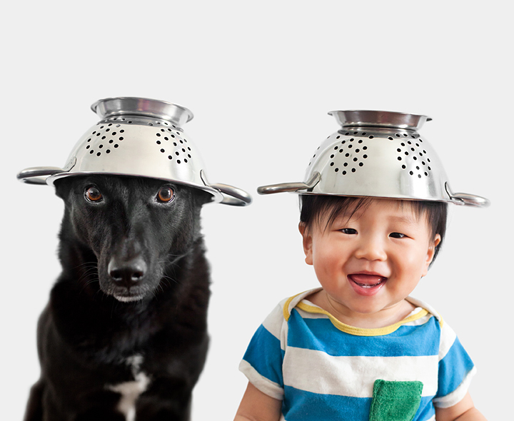 dog and baby wearing strainers as hats