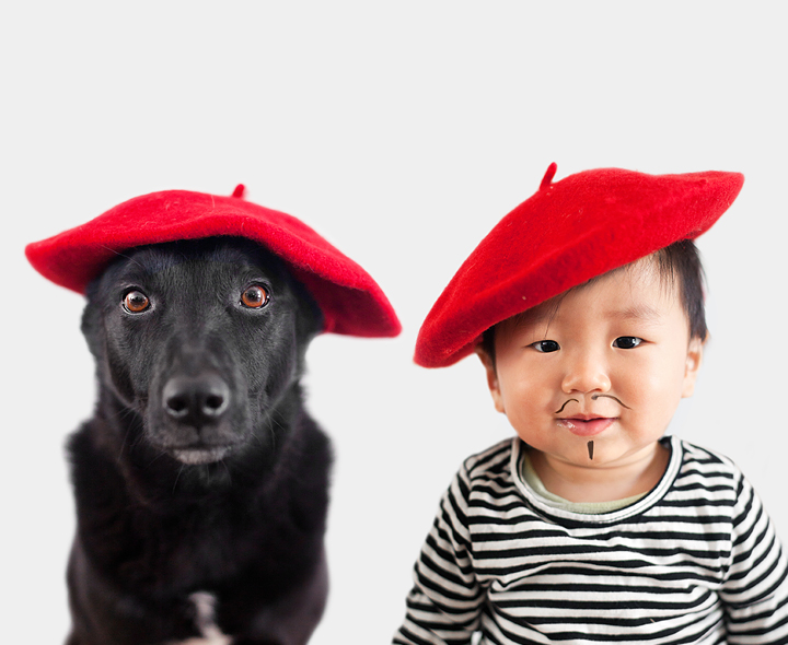 dog and baby are french