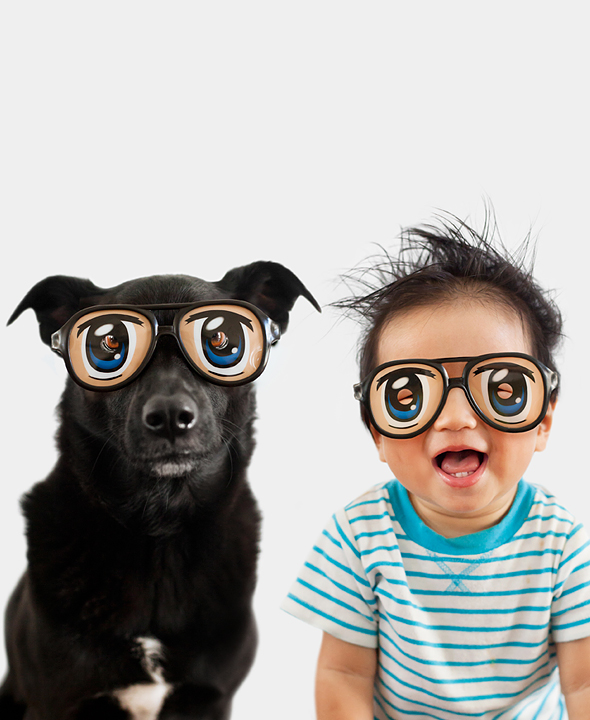 dog and baby wearing silly glasses