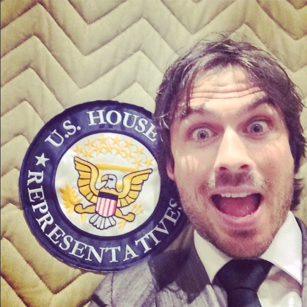Ian about to speak outside the US House of Representatives