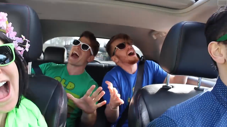 friends singing in the car