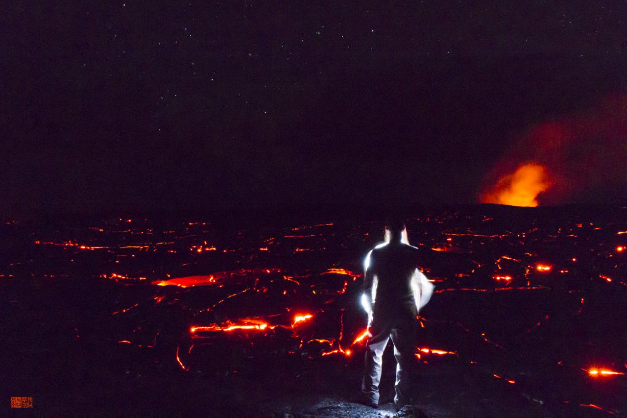 Daniel Fox traveling, lava and mountainous regions