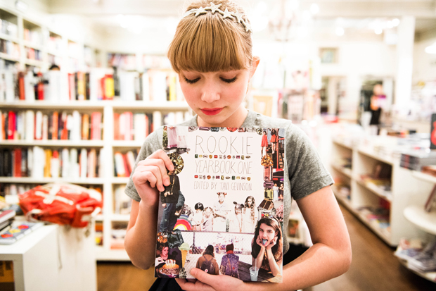 rookie mag creator and editor in chief tavi gevinson poses with rookie yearbook one