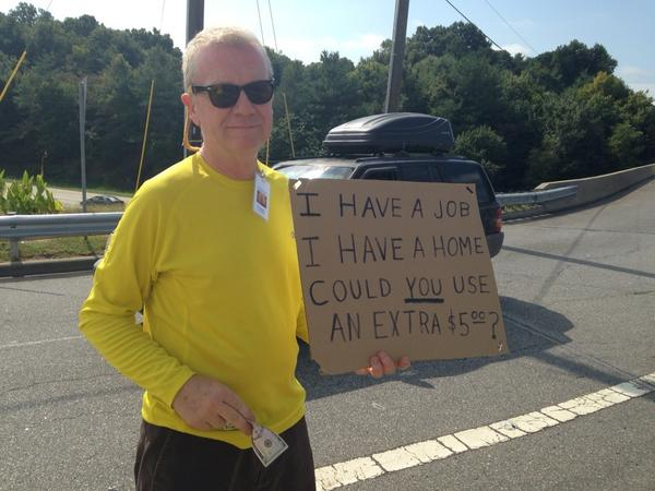 Bob Blackley gives $5 bills away on the street on his birthday