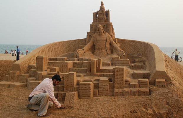 sand sculpture of jesus