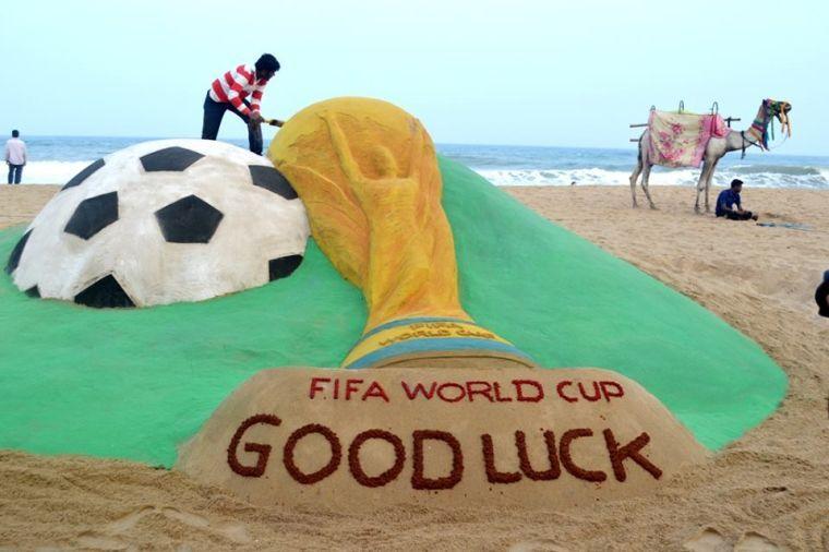 world cup good luck sand sculpture soccer