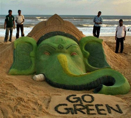 sand sculptures promoting green lifestyle