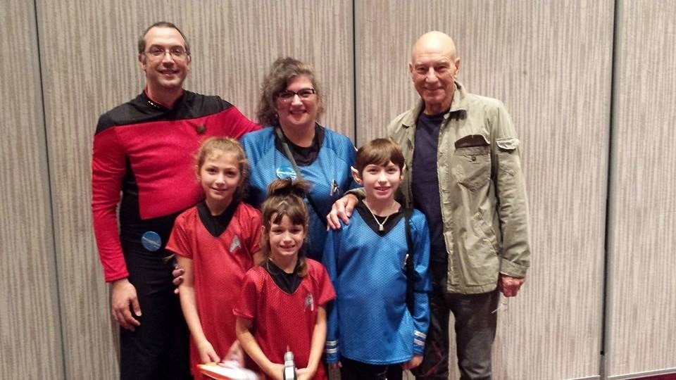 dawn garrigus and family dressed up as star trek characters with patrick stewart