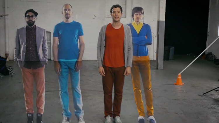 """OK Go screenshot from their illusion music video """"The Writing's On The Wall"""""""