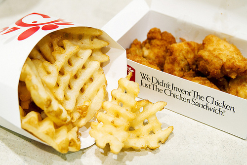 chick fil a waffle fries and chicken nuggets