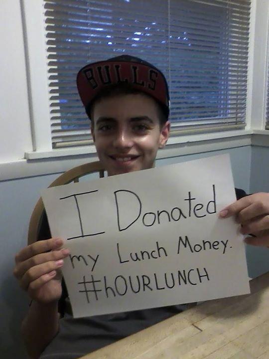 boy donates lunch money