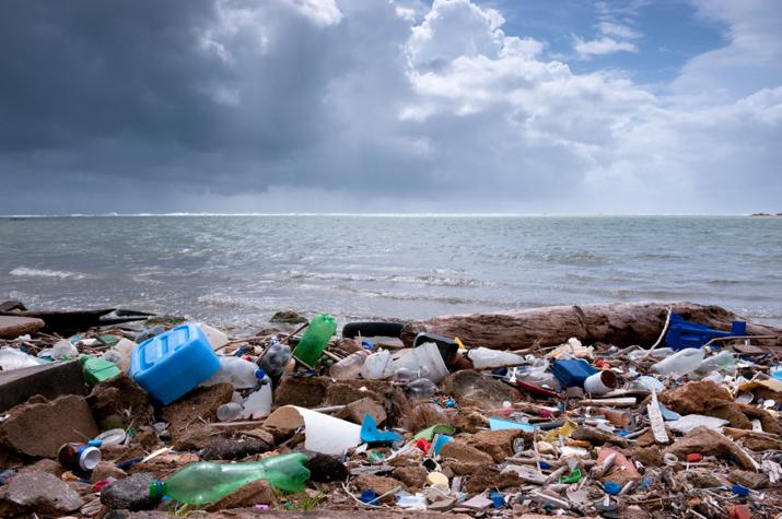 tons of trash on beach