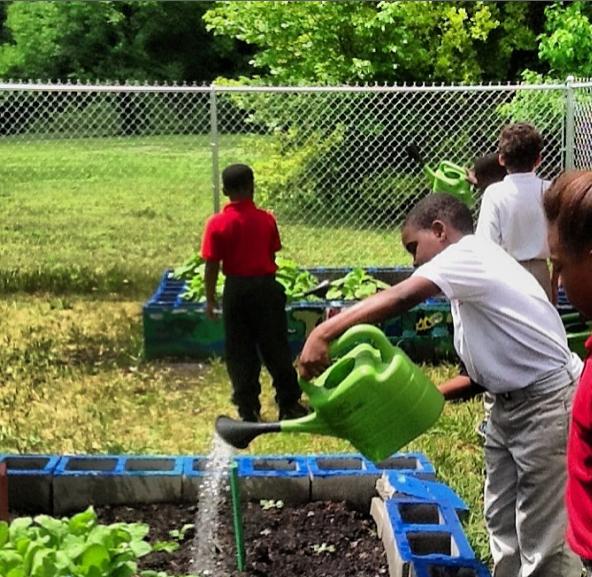 students planting in community garden