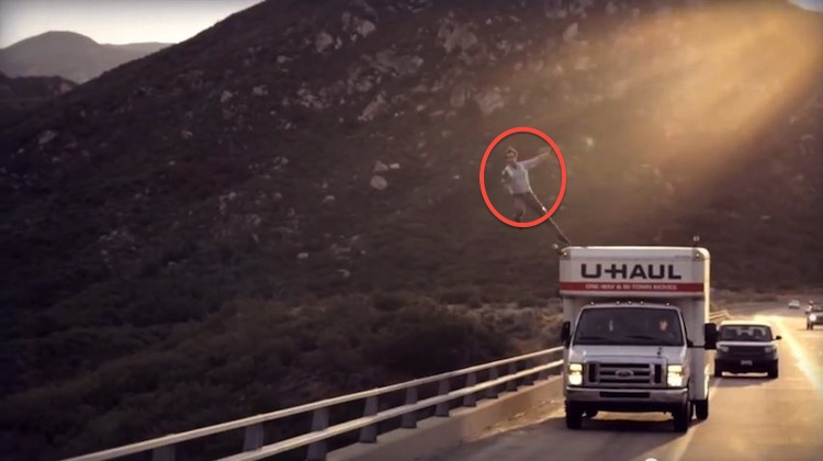 man jumping from haul truck