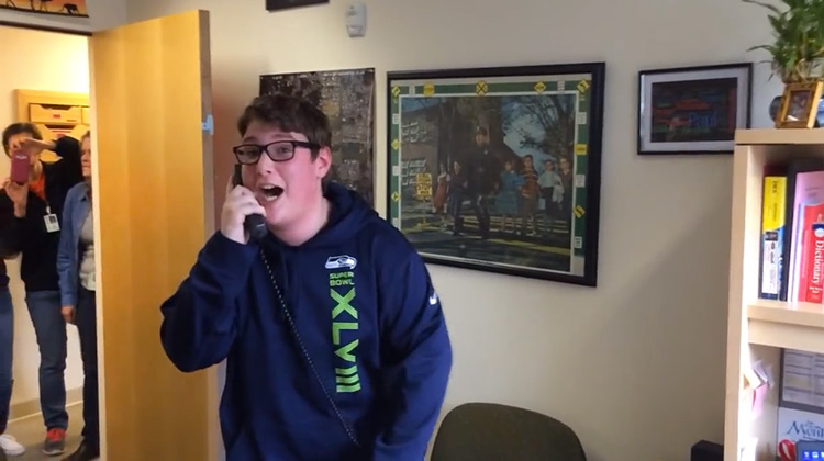 Daniel Duncan reacting to surprise Super Bowl Tickets