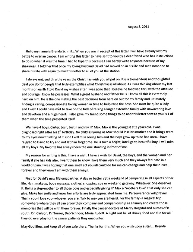 Brenda Schmitz letter to family via Star 102.5