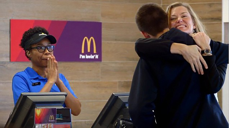 hugging people at mcdonalds