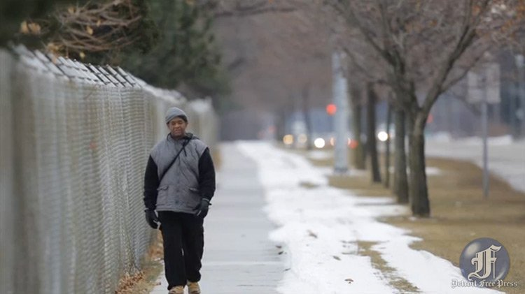 James Robertson walking to work, 21 miles a day