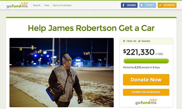 Picture of James Robertson's GOFundMe campaign