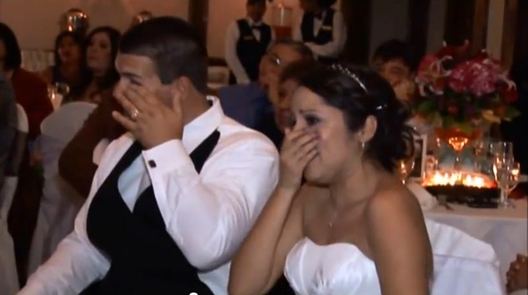 daughter and groom crying at inspiring weding