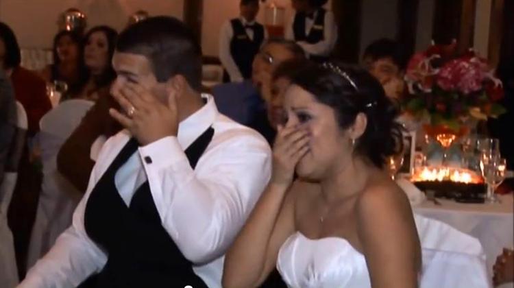 daughter and groom crying at inspiring weding