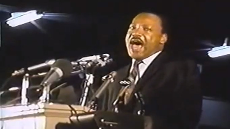 Martin Luther King Jr. giving last speech ever in Memphis, TN