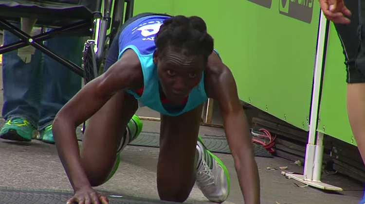 Kenyan runner Hyvon Ngetich collapses in race