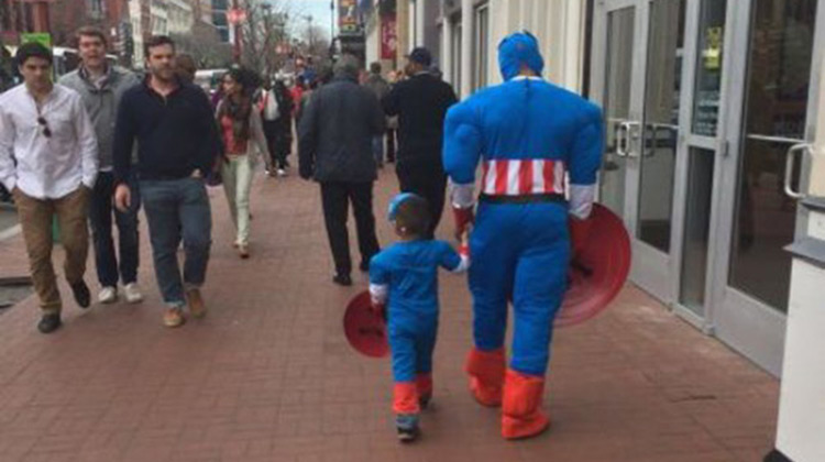 Dad with son in Captain America outfit