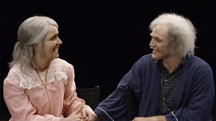 Cut Studio placed make up to make young couple look 90 years old