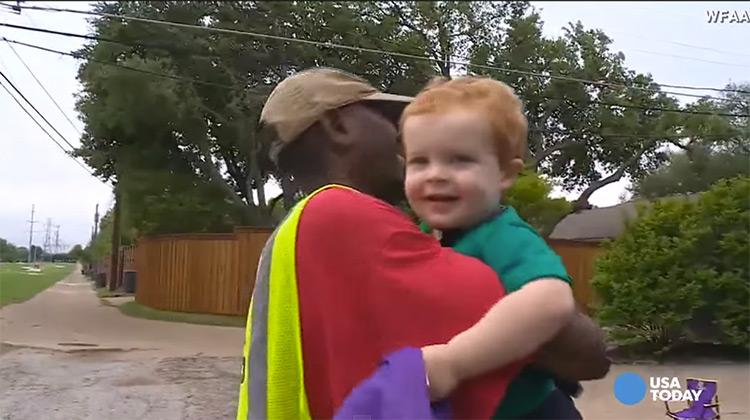 Deacon Ross hugging local garbage man O Dee