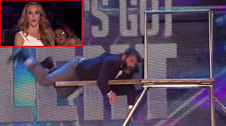 Vladimir Georgievsky falling on trampolin on Britains' Got Talent