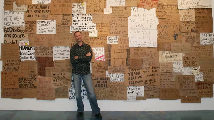 Man Creates Art From Hundreds Of Homeless Cardboard Signs The