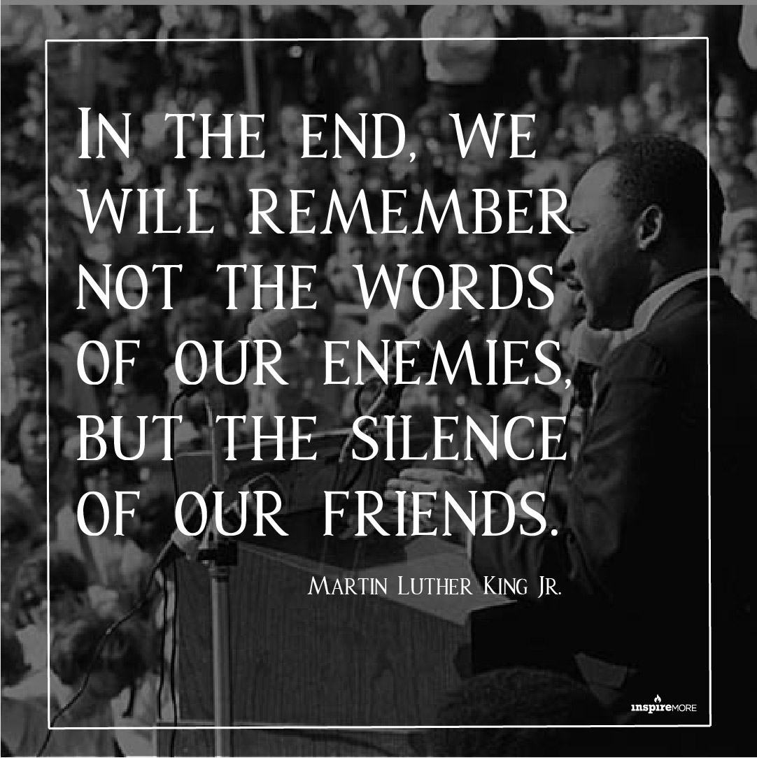 MLK JR quote - In the end, we will remember not the words of our enemies, but the silence of our friends.