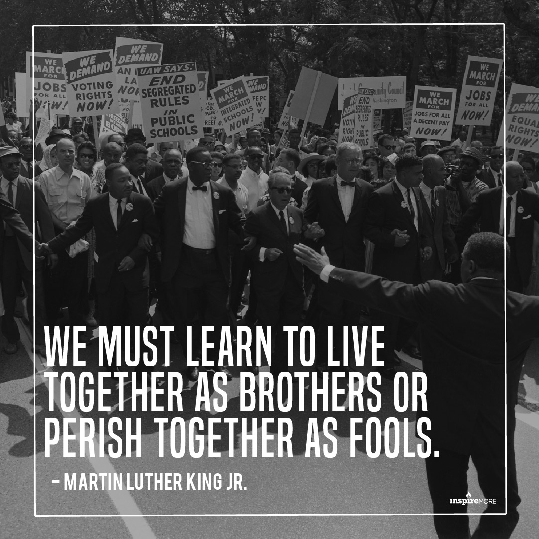 MLK Jr quote - We must learn to live together as brothers or perish together as fools.