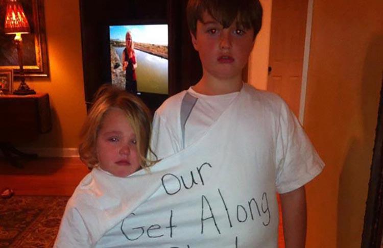 """siblings in """"Get Along"""" tshirt"""