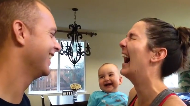 Sweet Baby Can't Stop Laughing Every Time Mom And Dad Kiss