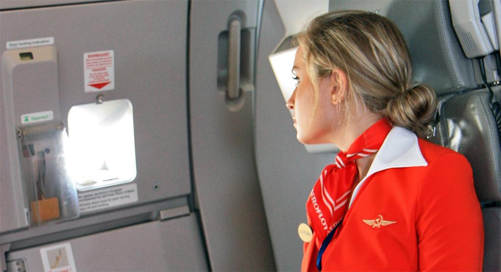 Flight attendant looking out plane window